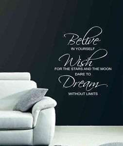 BELIEVE WISH DREAM Wall Quote Lettering Vinyl Decal 26