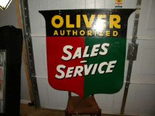 Oliver Tractors IH DBL Sided Shield Sales Service Farm Tin Sign