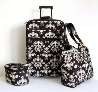 Carry On 3pc Travel Set Bag Rolling Wheel Luggage Beauty Case Purse