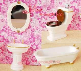 Dollhouse Miniature White Wood Bathroom Toilet Set 7PCS High Quality