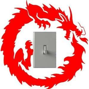 Flaming Dragon   Light Switch Decals   Custom Vinyl Wall Art   Made In