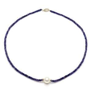Gold 12 13mm Freshwater Cultured Pearl 4 5mm Blue Sapphire Gemstones