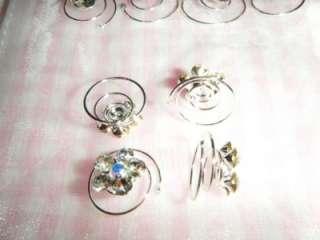 12 Rhinestone Pearl Twist Hair Pins Bridal Accessories