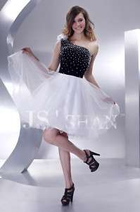 JSSHAN Black&White Beaded One Shoulder Strap Pearl Party Clubwear