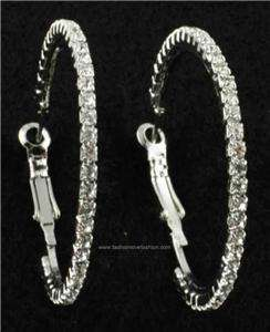 WOMENS SILVERTONE Rhinestone Hoop Earrings XXL 3
