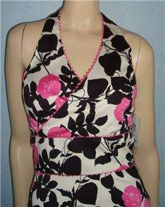 NWT JENNIFER REALE Pink Black White Floral Halter Dress Sz 4 S Small