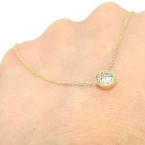 75 ct 14k Yellow Gold White Round Cut Real Diamond Solitaire Pendant