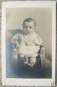 VINTAGE Baby Boy Black and White Postcard 1930s