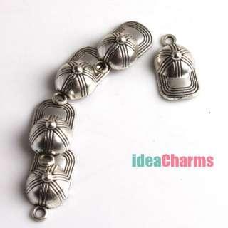 40 Baseball Hat Silver Tone Charms Loop Pendants G250