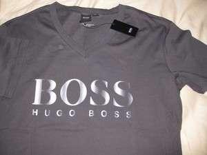 NEW NWT Mens Hugo Boss Black Label Grey Tee Beach Logo V Neck T shirt
