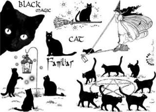 Black Magic Cats  set of UNmounted rubber stamps