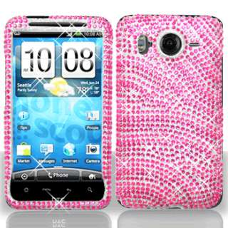 Pink Zebra Crystal Bling Hard Case Phone Cover for HTC Inspire 4G