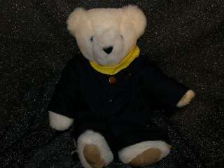 VERMONT White Blue Eyes Teddy Bear Plush Animal Jointed
