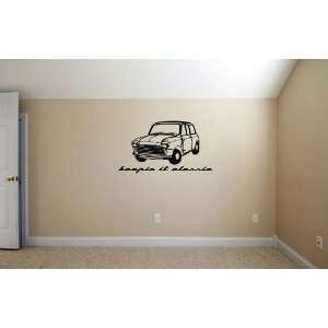 Mini Cooper Keepin it Classic BLACK Wall Garage Room Vinyl Decal