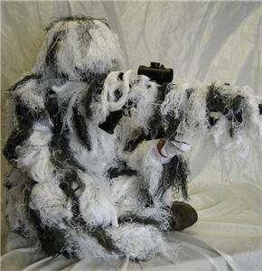 New Full Body Snow Camo Ghillie Suit Mens M/L 4PC.