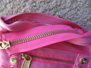 ADORABLE Authentic Juicy Couture Hot Pink Nylon Belted & Goldtone