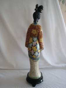 EXQUISITE CHINESE CLOISONNE & OX BONE LADY FIGURINE H/PAINTED CARVED