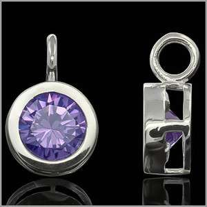 925 Sterling Silver Round Drop Pendant Charm with CZ Amethyst Purple