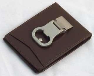 BOTTLE OPENER Money Clip Leather Mens Wallet Card Holder Dk Brown