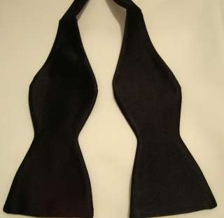 Mens Black Self Bow Tie Solid Black color Bow Tie