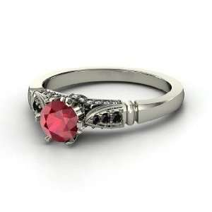 com Elizabeth Ring, Round Ruby 14K White Gold Ring with Black Diamond