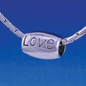 B1203 tlf   Smooth Silver Barrel Bead   Love   Im