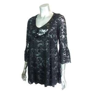 Sutton Studio Womens Black Floral Lace Tunic