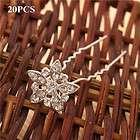 Shining Alloy Rhinestone Flower Hair Pins Wedding Bridal Hairpins