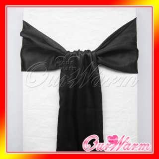 100 Black Satin Chair Sash Bow Wedding Party Colors new