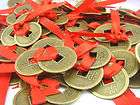 Fengshui Three Red Ribbon Feng Shui Coins W Red Envelop items in FENG