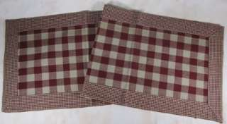 Country Wine Tan Buffalo Gingham Check York Cotton Table Runner 13x54