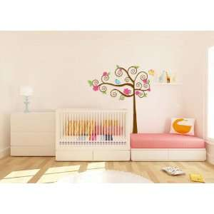 Super Cute Swirly Tree Vinyl Wall Decal with Birds Leaves and Daisy