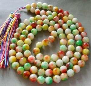 Tibet Buddhist 108 Jade Prayer Beads Mala Necklace