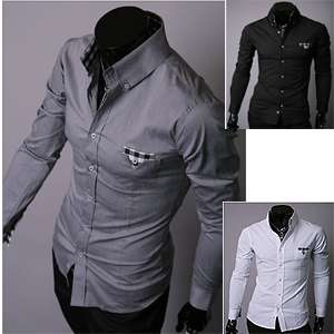 mens slim shirts check pocket 3color (sz XS,S,M)