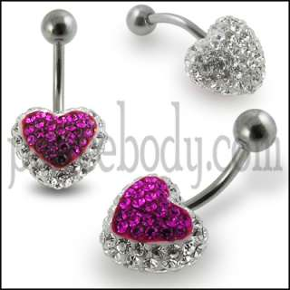 2pcs, Multi Crystal stone Heart Belly Ring