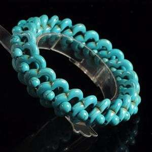 g0980 20x13mm Man made turquoise beaded stretchable bracelet 8