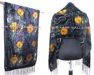 Floral Burnout Pattern 100% Silk Velvet Shawl Wrap Scarf Oil Painting