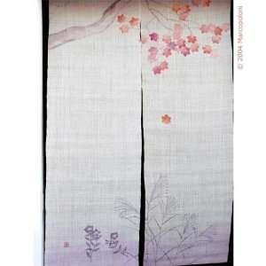 Pink Maple Leaves Japanese Noren Curtain:  Home & Kitchen