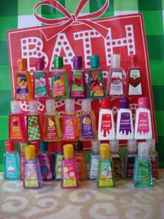 NEW LOT OF 30 BATH BODY WORKS MIXED HAND GELS/POCKETBACS & 20 HOLDERS