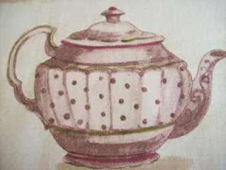 Teapots pink shabby chic Stof French designer fabric