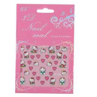 10 Pack Cute Kitty & Little Heart Nail Art Decal Sticker Stickers New