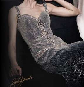 Stephen Yearick Gown / Sleeveless / Silver / Silk / Beaded Dress Size