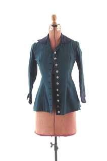 VINTAGE 1900s Edwardian Antique Wool PEPLUM Steampunk Dress Jacket XS
