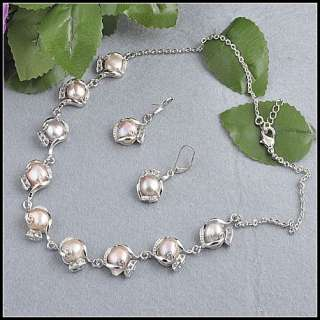lots 4sets Natural Pearls Zircon Necklace Earrings NE01