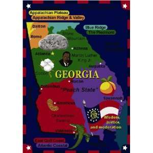 Georgia State The Facts Educational Rug by Joy Carpets
