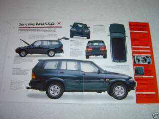 1995 1998 SSANGYONG MUSSO SUV Car SPEC SHEET BROCHURE