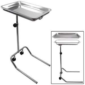 Center Post Mayo Stand W/ Stainless Steel Tray U Shaped Rolling Base
