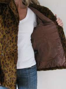 RICHARDS LEOPARD EXOTIC SPOTTED CAT RABBITS FUR JACKET COAT~M