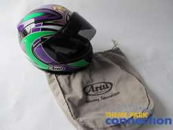 ARAI Custom RX 7 Purple, Black, Pink & Green Motorcycle Street Bike XL