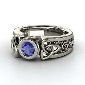 Celtic Sun Ring, Round Sapphire Palladium Ring